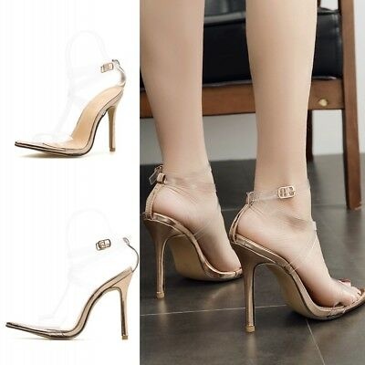 77075249b343 Women s Pointed Toe Transparent Stiletto High Heels Clear Ankle Strap  Sandals