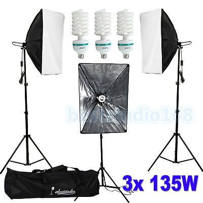Photography Studio 3x135W Softbox Continuous Lighting Soft Box Light Stand Kit