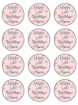 Happy Birthday personalised Pink name age edible cupcake Toppers Wafer Icing x12