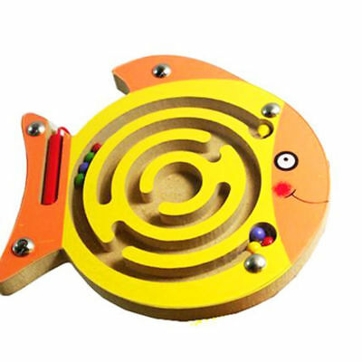 Mini Magnetic Pen Driving Wooden Bead Maze Magnet Labyrinth for Kids 3 Years+