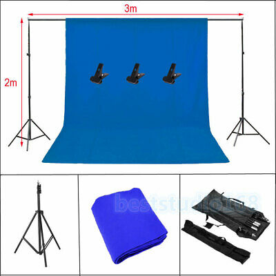 Photo Studio Background Support Stand with Free Blue Backdrop Carrying Case UK