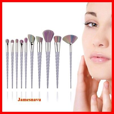 10x Unicorn Spiral Makeup Brushes Set Eyeshadow Foundation Powder Brushes kit