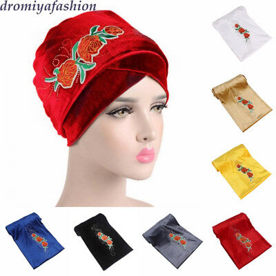 Velvet Turban Bandana Africa Women Extra Long Wrap Headscarf Cap Lady Floral Hat
