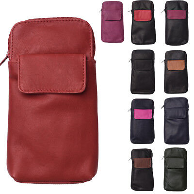 Mens Ladies Super Soft Real Genuine Leather Glasses Spectacle Case Holder Pouch