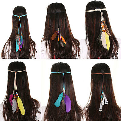 Women Indian Boho Feather Headband Hippie Weave Hairband Party Costume Cosplay