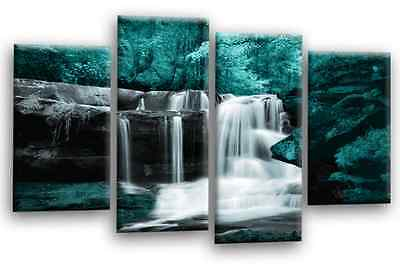 Le Reve Waterfall Canvas Print Wall Art Teal Grey Black White Split Panel