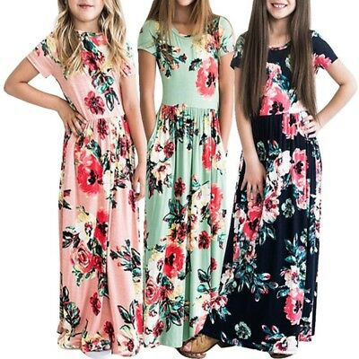 Women's Girls Short Sleeve Long Dresses Floral Maxi Holiday Party Travel Clothes
