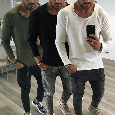AU Mens Slim Fit O Neck Long Sleeve Muscle Tee Shirts Casual T-shirt Tops Blouse