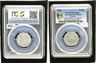 Getto Litzmannstadt 5 Mark Münze Alu vz-prägrfrisch kl. Flecken PCGS Genuine