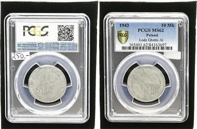 10 Mark 1943  Polen Getto Litzmannstadt  fast prfr., kl. Flecken PCGS MS62