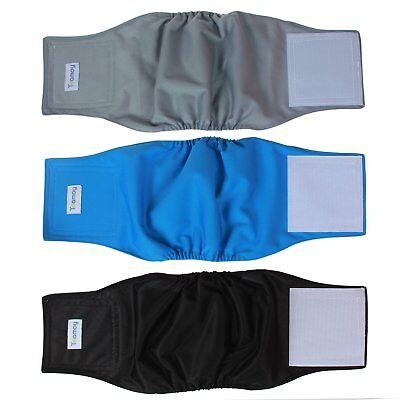 Teamoy Reusable Wrap Diapers for Male Dogs, Washable Puppy Belly Band Pack of 3