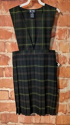 French Toast Girls V-Neck Pleated Green & Navy Jumper School Uniform Size 20,nwt