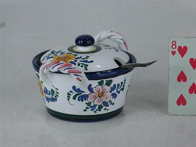 Art Pottery Italy Hand Painted JELLY JAM POT Spoon Slotted lid  Finial Handle