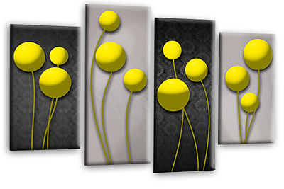 Abstract Floral Wall Art Picture Grey Yellow Canvas Print Multi Panel