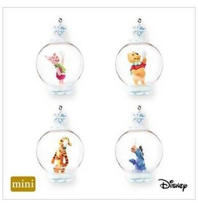 Hallmark Miniature Ornament Disney Winnie The Pooh Set Catching Snowflakes 2007