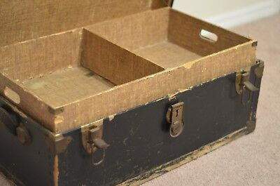 """Vintage Trunk  Low Profile Coffee Table Wood Steamer Trunk 31 x17 13""""tall"""