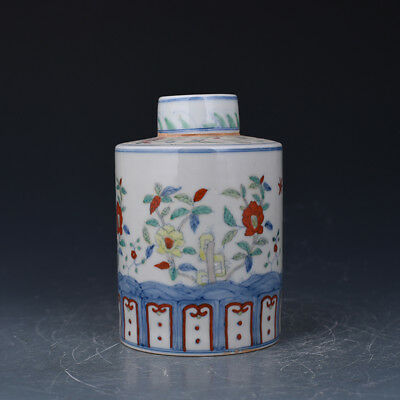 """7"""" China old Porcelain ming chenghua famille rose flower and painting Tea Caddy"""