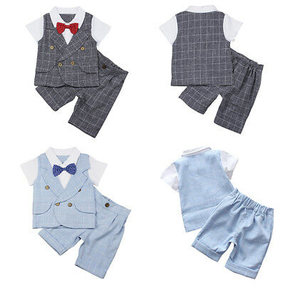 Baby Kids Boys Gentleman Short Sleeve T-Shirt Pants With Bow Tie Suit Set Nice