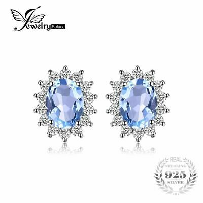 1.2ct Natural Blue Topaz Halo Stud Earrings 925 Sterling Silver Women Fashion Je