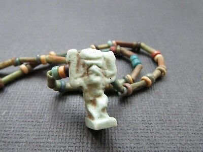 NILE  Ancient Egyptian Shu Amulet Mummy Bead Necklace ca 600 BC
