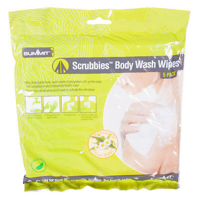 5 Pack Scrubbies Body Wash Wipes Camping Easy Clean Scrubs