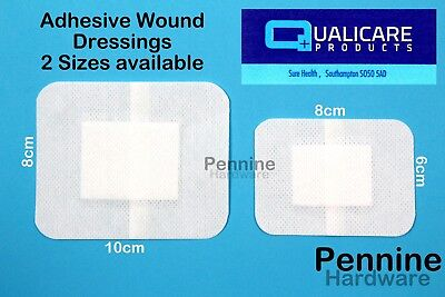 Qualicare Sterile ADHESIVE WOUND DRESSINGS Plasters in 2 Sizes First Aid Cuts