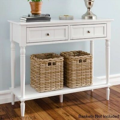 Miraculous Console Table White Hall 2 Drawer Storage Coastal Cottage Gmtry Best Dining Table And Chair Ideas Images Gmtryco