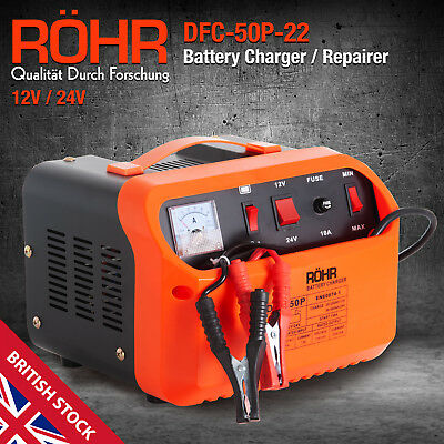 Car Battery Charger, Portable 12V & 24V Turbo / Trickle, Vehicle Motorbike, ROHR