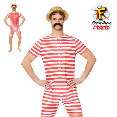 307e1f0fe9 Men Old Time Red Bathing Suit Victorian 1920s Fancy Dress Costume Beach  Swimsuit