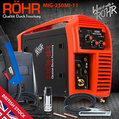 MIG Welder Inverter Gas / Gasless MMA 3-in-1 IGBT 240V 250 amp DC Machine - ROHR