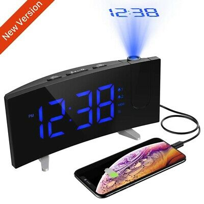 """Digital Alarm Clock LCD LED Projector Projection FM Radio Snooze 5"""" Large Screen"""