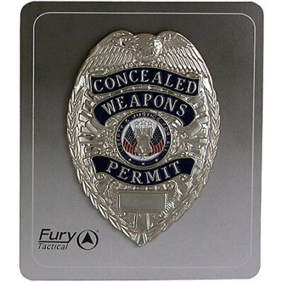 FURY Tactical Concealed Weapons Permit Badge Silver