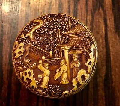 Antique Chinese Amazing Hand Carved Light Cinnibar Trinket Box Artist Signed