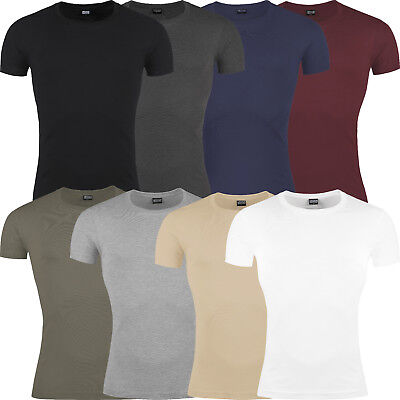 New Mens Slim Fit T Shirt Short Sleeve Muscle Gym Crew Neck Plain Cotton Top Lot