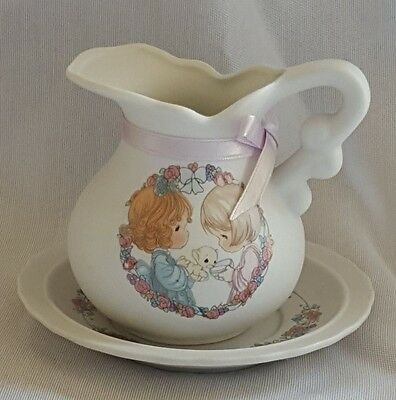 """Precious Moments Mini Pitcher & Saucer """"Sharing the Gift of Friendship"""""""