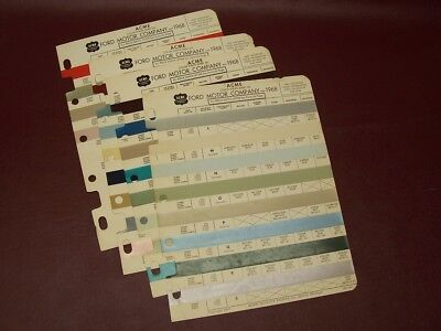 Original Vintage Auto Truck Paint Chips Sheets 1968 FORD Motor Company   Colors