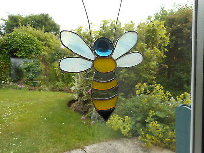 Stained Glass Bee Suncatcher or Wall Mount.