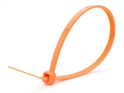 "8"" Nylon Orange Cable Wire Zip Ties 50 lbs Strength - 100 pack - Ships Today"