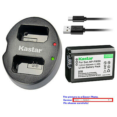 Kastar Battery Dual USB Charger for Genuine Sony NP-FW50 Original BC-VW1 BC-TRW
