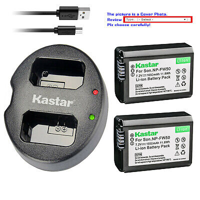 Kastar Battery Dual USB Charger for Sony Genuine NP-FW50 & OEM BC-VW1 BC-TRW