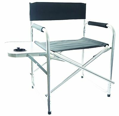 Aluminum Folding Directors Chair with Side Table Camping Traveling FDS Black