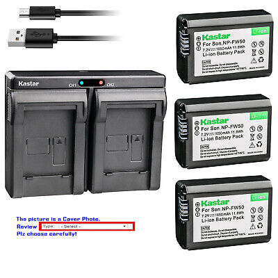 Kastar Battery Slim Dual Charger for Sony OEM NP-FW50 & Genuine BC-VW1 BC-TRW