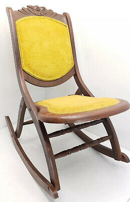 Antique Wood Victorian Style Folding Rocking Chair Rocker