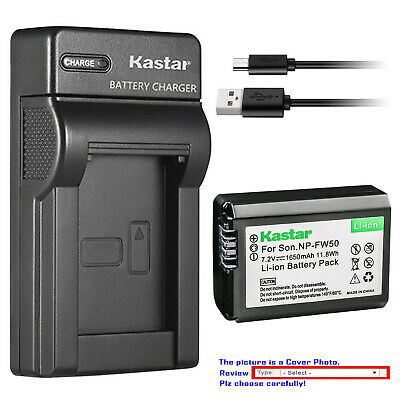 Kastar Battery Slim USB Charger for Genuine Sony NP-FW50 Original BC-VW1 BC-TRW