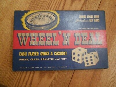 "Vtg 1950's/60's Board Game ""wheel N Deal"" Poker Roulette Craps & 21"