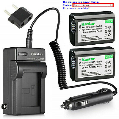 Kastar Battery AC Travel Charger for Sony Genuine NP-FW50 & OEM BC-VW1 BC-TRW