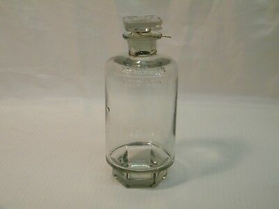 Rare Antique Clear Glass Acid Bottle with Stopper  Embossed Hexagon Base