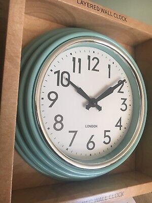 Retro Chunky Round Layered Wall Clock Kitchen Decoration Duck Egg Blue Chrome