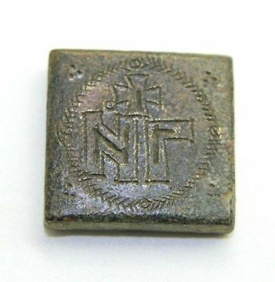 Incredible Byzantine Bronze Exagia Weight - Engraving Perfectly Intact!   P81