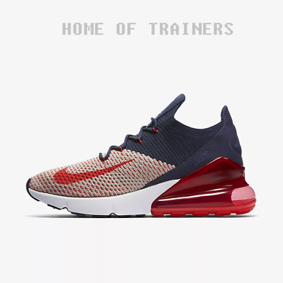NIKE AIR MAX 270 Flyknit Moon Particle Navy Blue Red Women's Trainers All Sizes